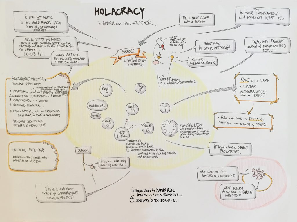 Basics of Holacracy: Talk by Martin Röll at the Obenaus Community, Styria, Capture by Viola Tschendel (August 2016)