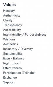Values of Structure & Process:  Honesty Authenticity Clarity Transparency Accessibility Intentionality / Purposefulness Wisdom Aesthetics Inclusivity / Diversity Sustainability Ease / Balance Right Effort Effectiveness Participation (Teilhabe) Exchange Support