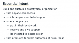 Essential Intent  Build and sustain a prototypical organisation  - that anyone can access  - which people want to belong to - where people can    - put in their best work   - receive and give support   - be inspired to better action - that produces tangible outcomes of its purpose