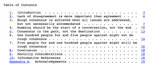 Table of Contents of the IETF Paper on 'rough consensus'